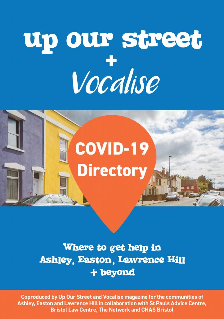 Image of Covid directory cover from Up our Street and Vocalise